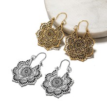 цена на 1 Pair Antique Vintage Earrings Mandala Flower Drop Dangle Earring For Women Girl Tribal Hollow Floral Earrings Pendants Beauty