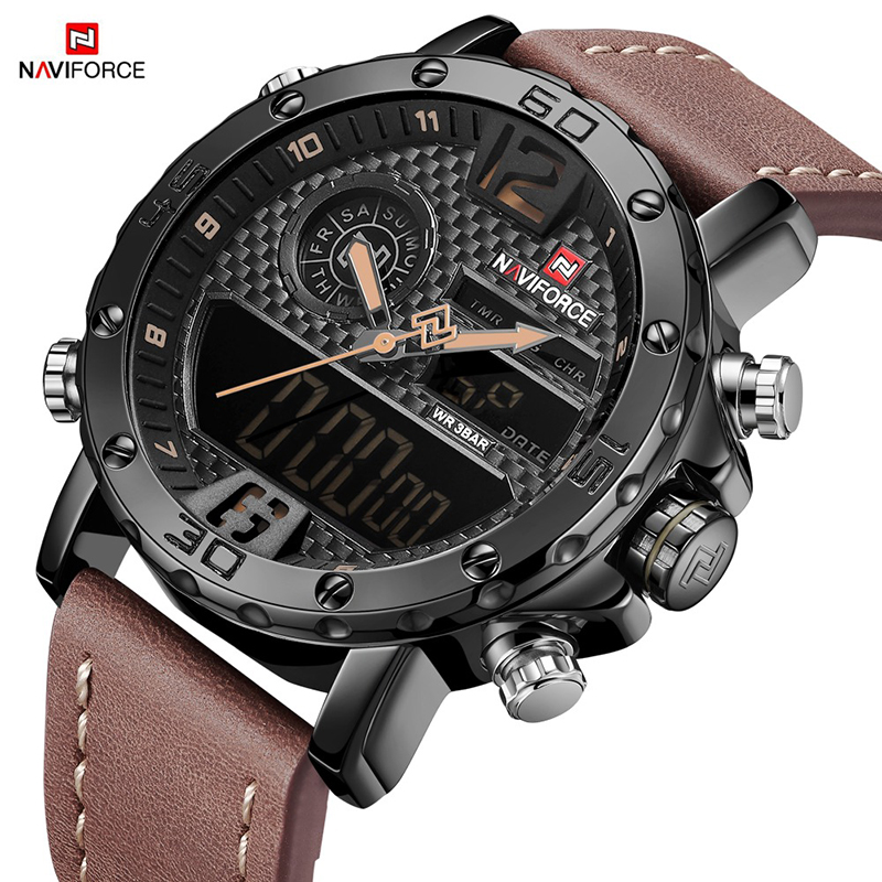 NAVIFORCE Mens Watches Top Brand Men Sports Quartz Watch Military Waterproof Automatic Date Leather Men Clock Relogio Masculino цена 2017