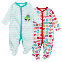 Retail 3 Piece/Lot Random Delivery Print Animal O Neck Cute Embroidery Baby Romper Climbing Clothes Girls Boys Cotton Clothing