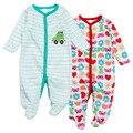 3 Pcs 2 Pçs/lote Entrega Aleatória bebê recém-nascido menina macacão macacão de Algodão de Manga Longa Pijama infantil-roupas traje do bebê menino