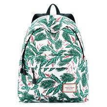 цена на Backpack Woman Green Leaf Printed Schoolbag 2019 Large Capacity Shoulder Bags Travel Bag Mochila Escolar Breathless