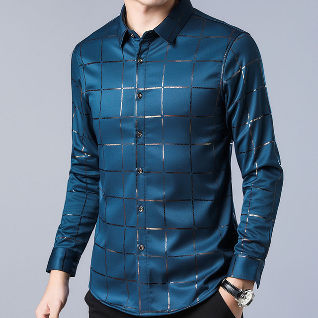 2020 Brand Casual Spring Long Sleeve Slim Fit Men Shirt   4