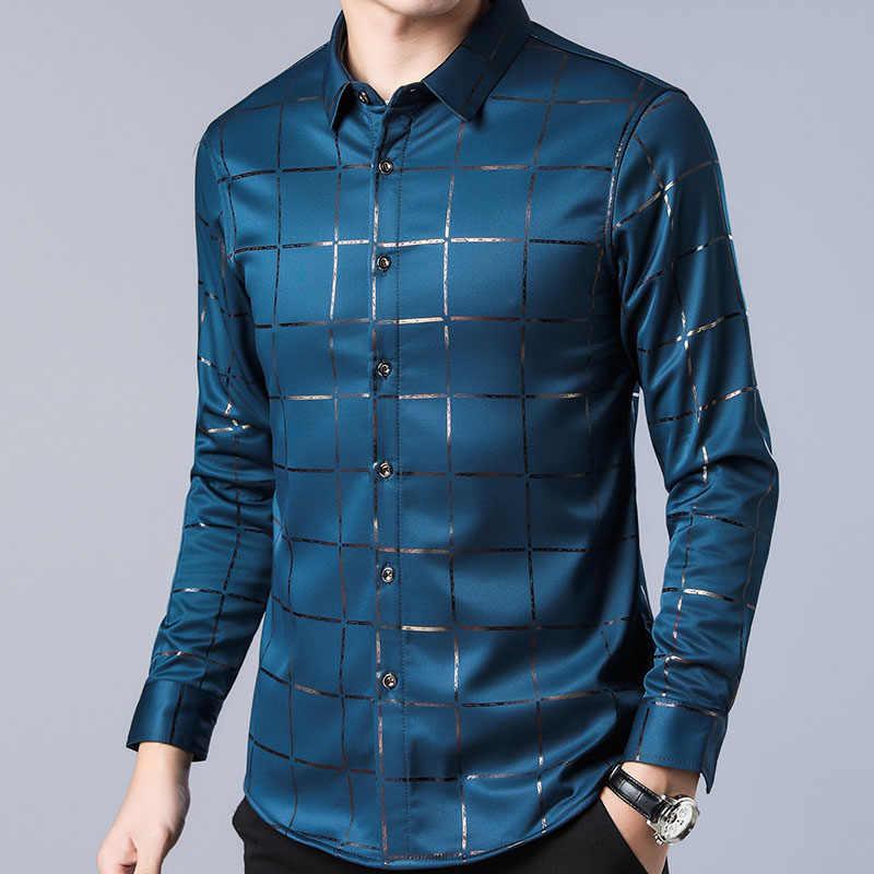 2019 מותג מקרית אביב יוקרה משובץ ארוך שרוול slim fit גברים חולצה streetwear חברתי שמלת חולצות mens אופנת ג 'רזי 2309