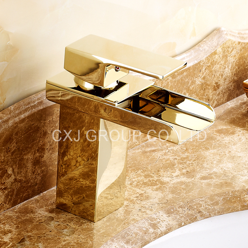 ФОТО FREE SHIPPING Solid Brass Gold Faucet Waterfall Faucet Single Hole Bathroom Faucet Gold Basin Faucet torneira para banheiro