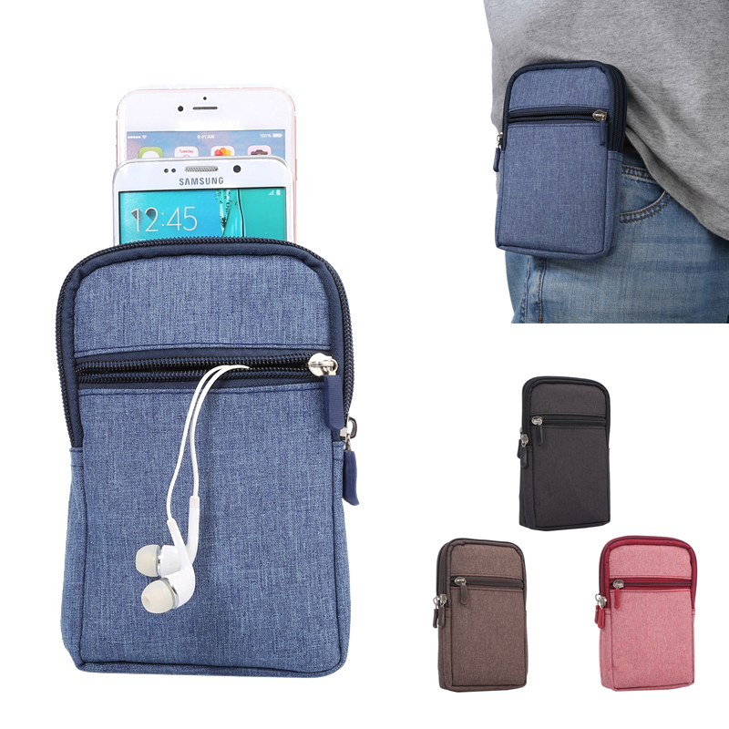 Denim Leather Man Waist Pouch Belt Clip Bag Phone Wallet Case For Samsung iPhone Cell Phone