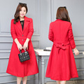 2016 Autumn Winter Women Long Jacket Female Woolen Warm Overcoat Femininos Plus Size Ladies Black Red Clothing 4XL 5XL 6XL