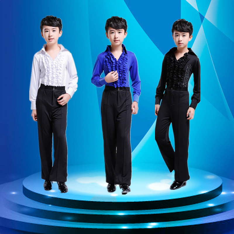 Boys Latin Dancing Costumes Kids Children Salsa Practice Dance Clothes (Tops+Pants) Mens Ballroom