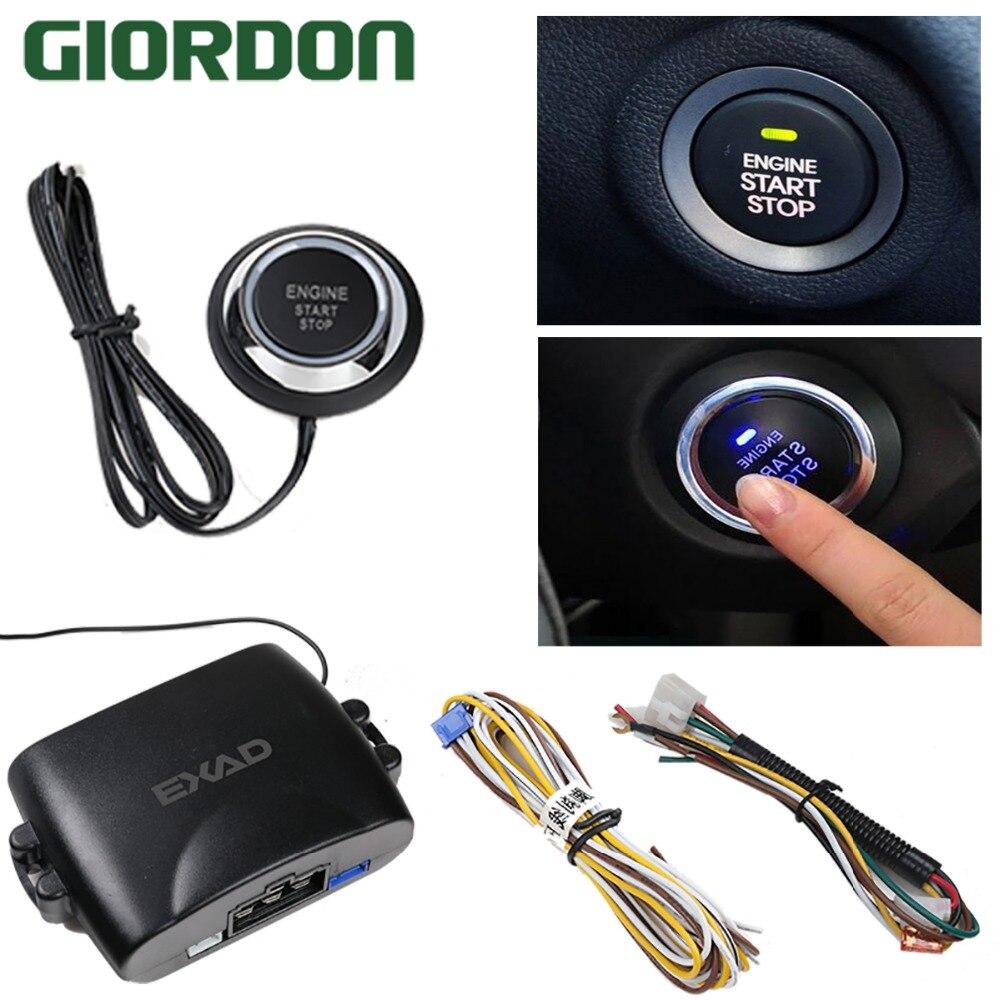 Moteur de voiture bouton de démarrage par bouton-poussoir verrouillage du moteur système d'allumage sans clé aller bouton-poussoir démarrage du moteur arrêt immobilisateur GD298B