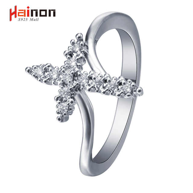f883d7589c Hainon silver color Cross promise Rings new jewelry Top Quality white cubic  zircon women Immanuel cross