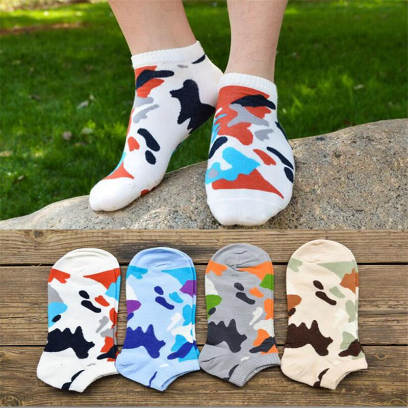 Recommend !! mens cotton socks Spring Summer and Autumn Striped Pattern socks mens fashion camouflage short sock