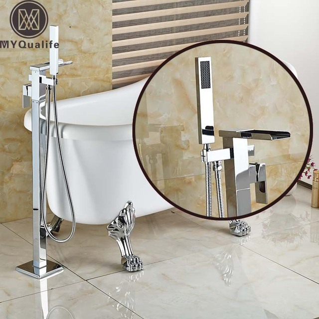 Brass Chrome Floor Mount Waterfall Spout Bathtub Mixer Tap ...