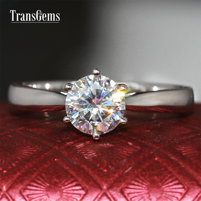 Transgems 18k White Gold 1ct carat Diameter 6.5mm F Color Moissanite Wedding Engagement Ring For Women Solitare Ring Gold transgems 1ct carat lab grown moissanite diamond jewelry wedding anniversary band solid white gold engagement ring for women