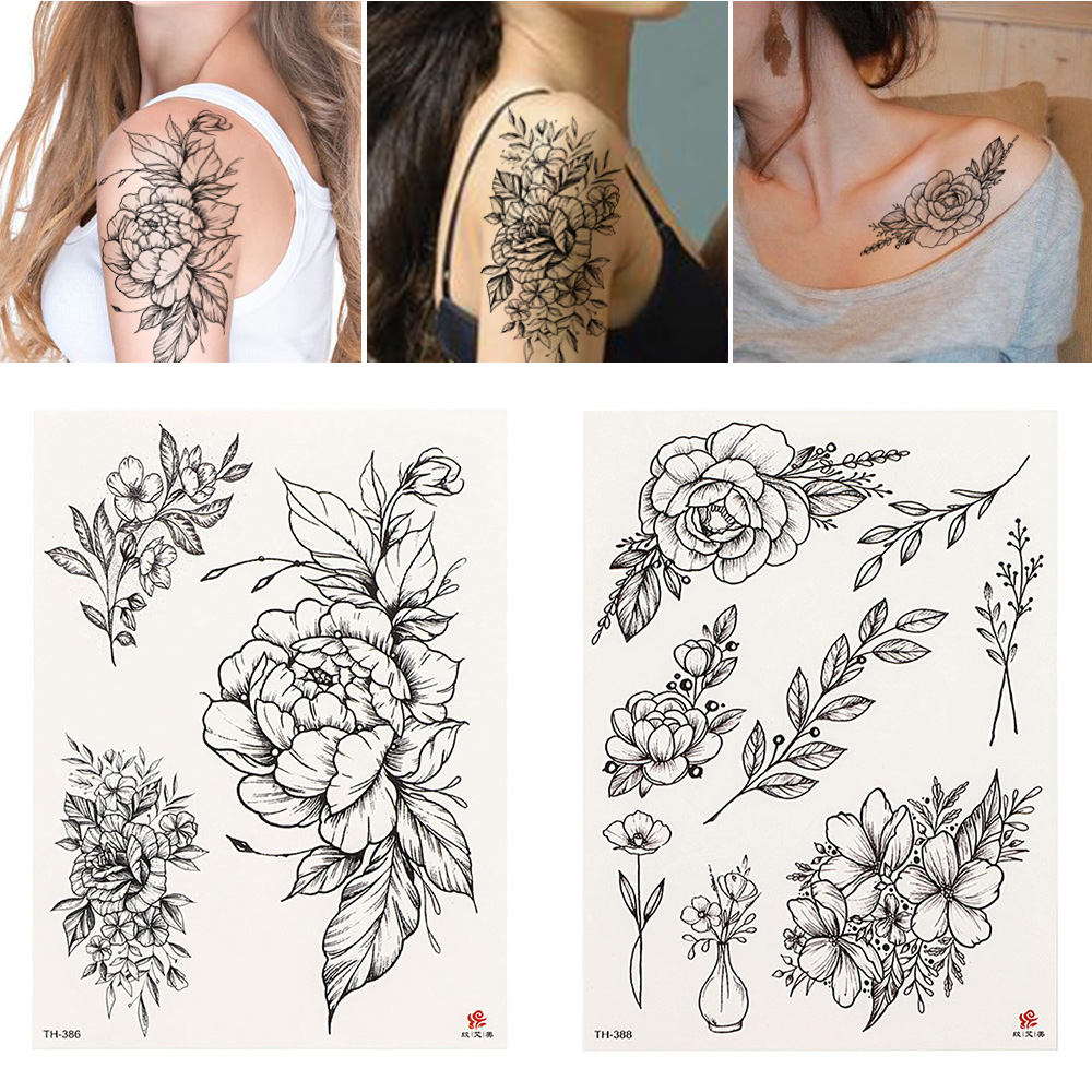 21cm*15cm Flower Body Art Arm Tattoo Unisex Sexy Temporary Tattoo Sticker Black Rose Waterproof Long Lasting Fashion Design