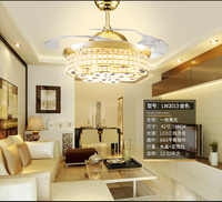 NEW 3 colors remote control k9 crystal ceiling fan restaurant electric fan lamp simple household bedroom living room fan ceiling