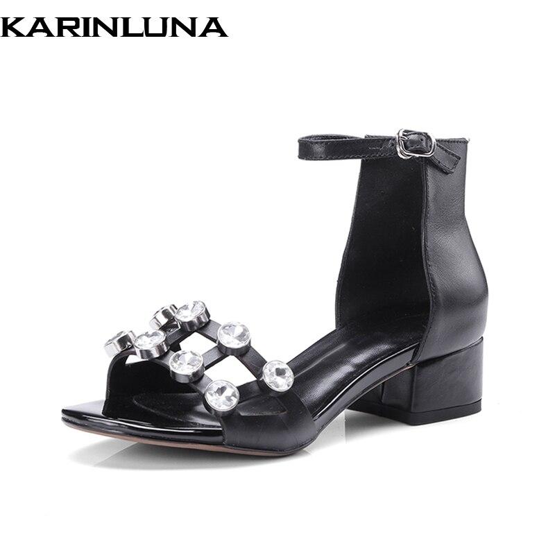 Vaca Sandalias Punk Mujer Nuevo Cuadrado Cuero Verano Cristal Karinluna Auténtico Zapatos Fecha Negro Decoración Tacones Bajos FHtqwqv