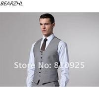 groom wedding vest gray slim fit men waist coat 2017 high quality five botton wool bleed