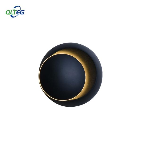 QLTEG 5W LED Wall Lamp 360 degree rotation adjustable bedside light 4000K Black creative wall lamp Black modern aisle round lamp