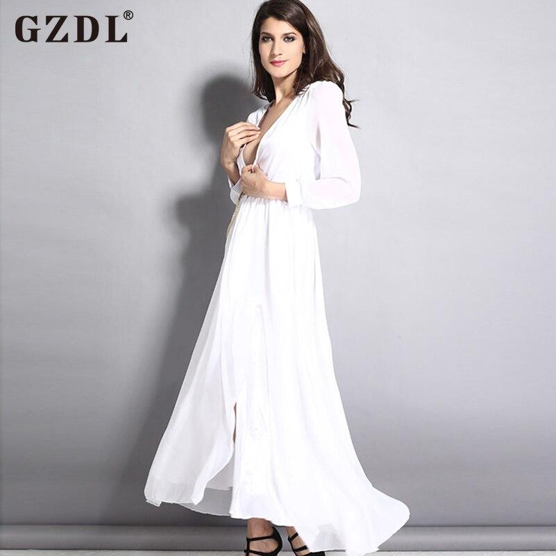 Deep v summer dress maxi