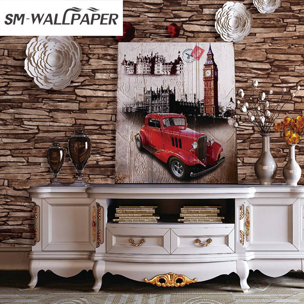 Vintage Faux Brick Stone Wallpaper Brown Multi Vinyl 3D Living Bedroom Bathroom Home Wall Decoration 0.53m*10m/roll interior design vinyl 3d wallpaper for home decoration
