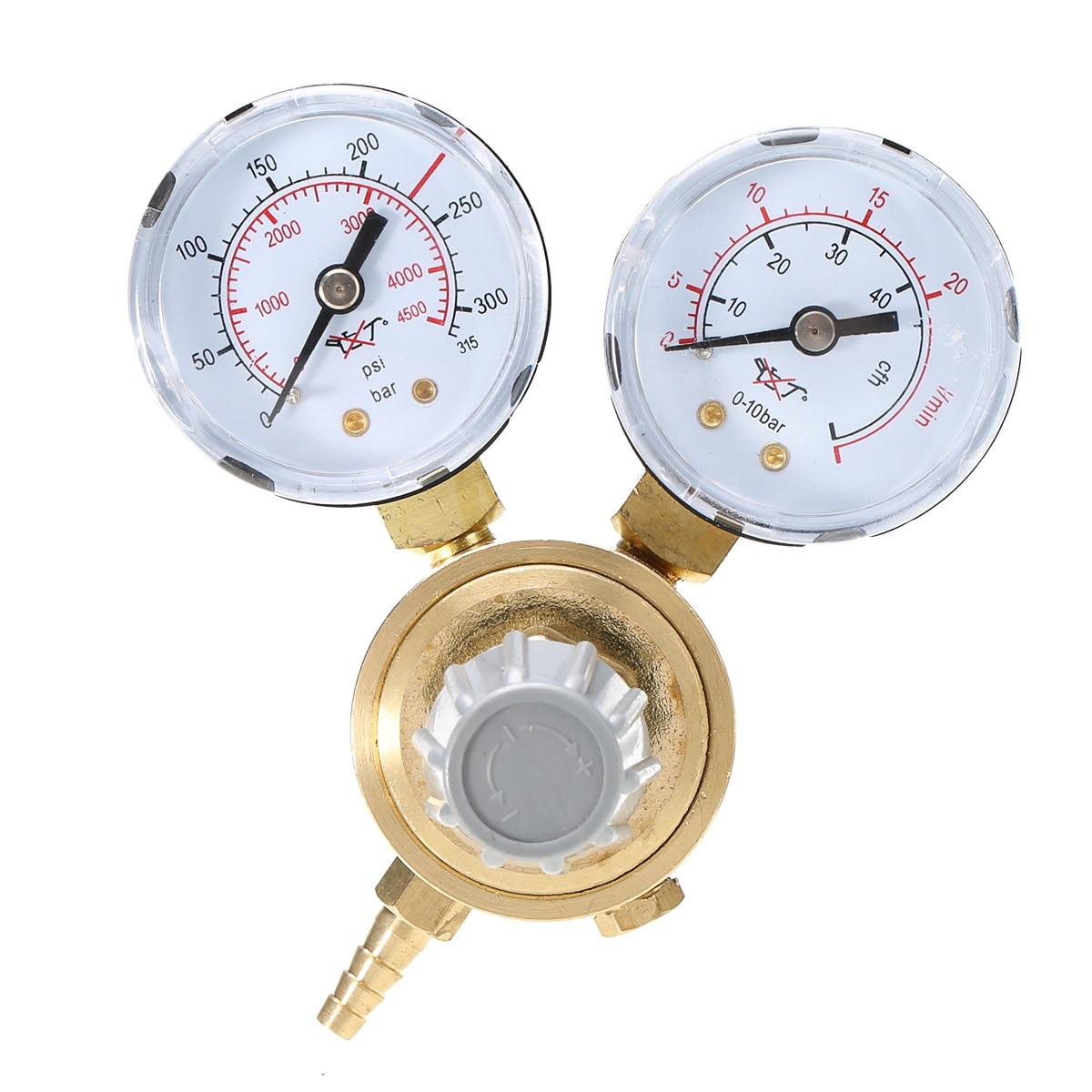 Professional Argon CO2 Pressure Reducer Copper Mig Flow Control Valve Dual Gauge Welding Regulator
