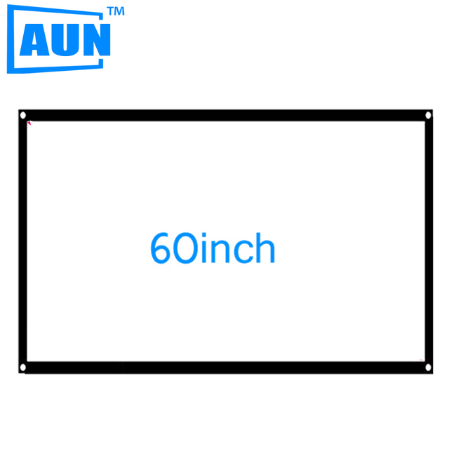 AUN 60 inch 16:9 Portable Projector Screen Plastic Screen for Home theater Bar Disco Travel S60