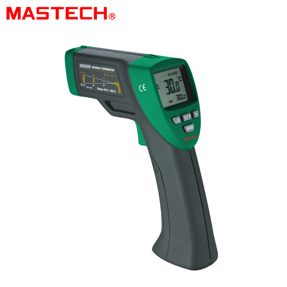 MASTECH MS6530A D:S=12:1 Non-contact Infrared Thermometer IR Temperature Gun with Laser Pointer Tester -20C~850C t010 new digital temperature meter tester mastech ms6520a laser pointer non contact infrared ir thermometer free shipping