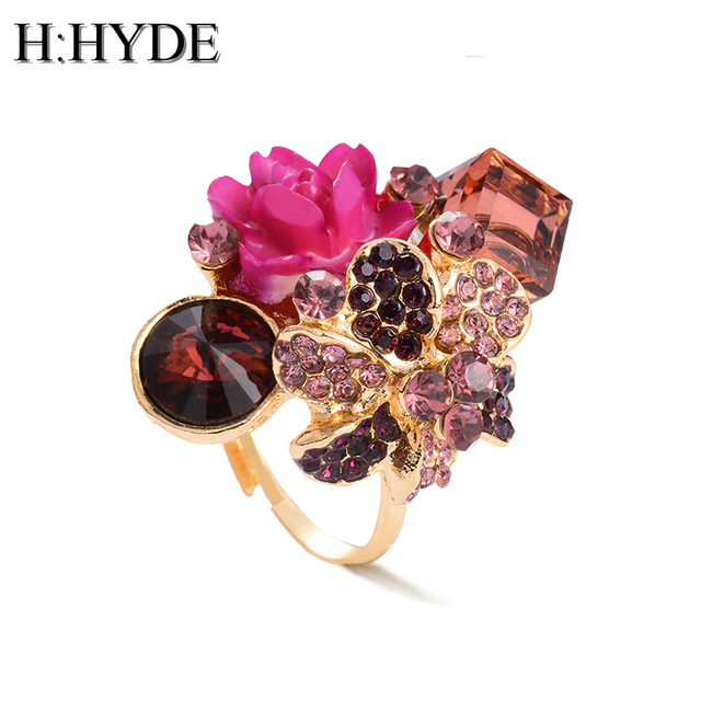 H:HYDE Purple flower ring for women hot sale crystal fashion party ring colorful