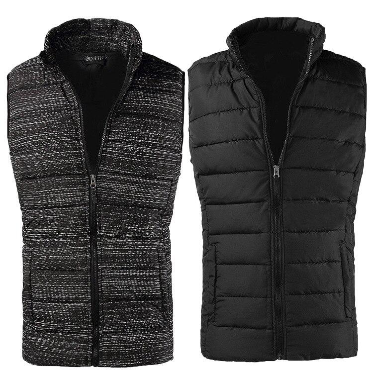 ZOGAA 2019 décontracté coton hommes vers le bas gilet mâle sans manches col montant veste chaude hommes gilet manteau noir gris