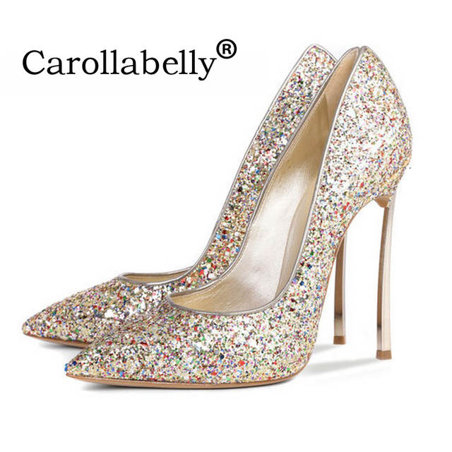 30794c6e79 sexy glitter women shoes metal heel sequined shoes pumps,8cm or 10cm or  12cm high heels pointed toe wedding bridal shoes