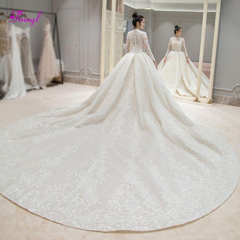 Fmogl Gorgeous Appliques Royal Train Lace A-Line Wedding Dresses 2019 High Neck Long Sleeve Vintage Bridal Gown Vestido De Noiva
