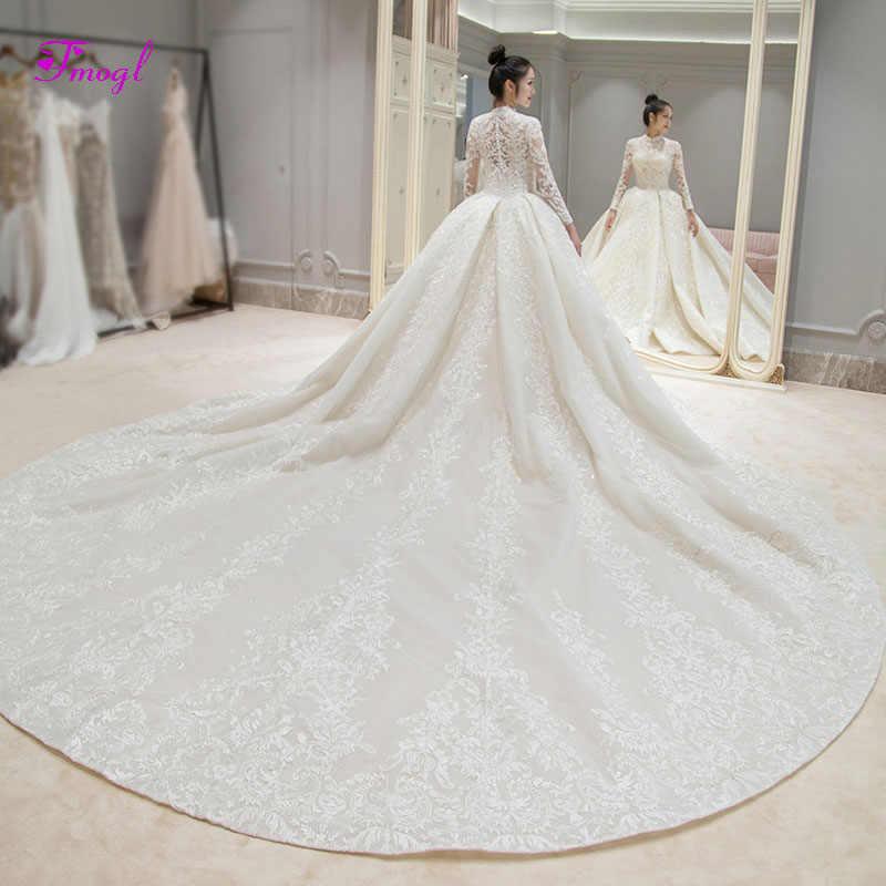Detail Feedback Questions about Fmogl Gorgeous Appliques Royal Train Lace A Line  Wedding Dresses 2019 High Neck Long Sleeve Vintage Bridal Gown Vestido de  ... 5bc45f069124