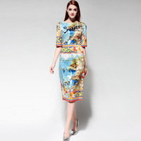 High Quality Runway Fashion European Spring 2018 Couture Sicily Beaded Cuff Collection Brand One Piece Dresses