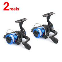 2PCS Small Size Spinning Reel with 40m Fishing Line for Ice Fishing Creek Pond Lake Fishing left / right hand interchangeable