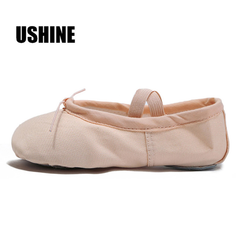 USHINE Indoor Exercising Shoes Pink Yoga Practice Slippers Gym Children Ballet Dance Shoes Girls Woman Kids