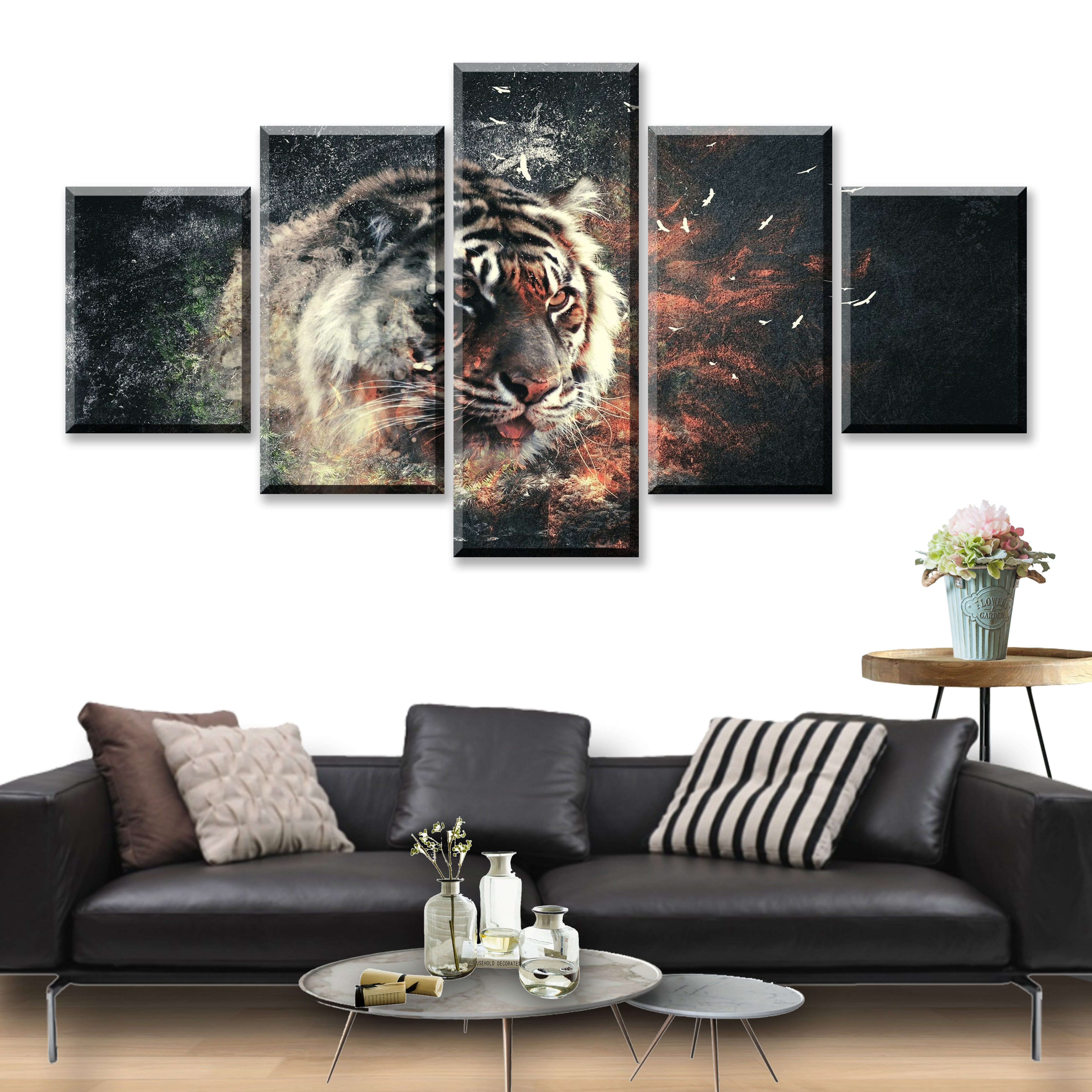 5 Piece Animal Painting Modern Home Wall Decor Canvas Picture Art HD Tiger Panel Arts Framework Decoration