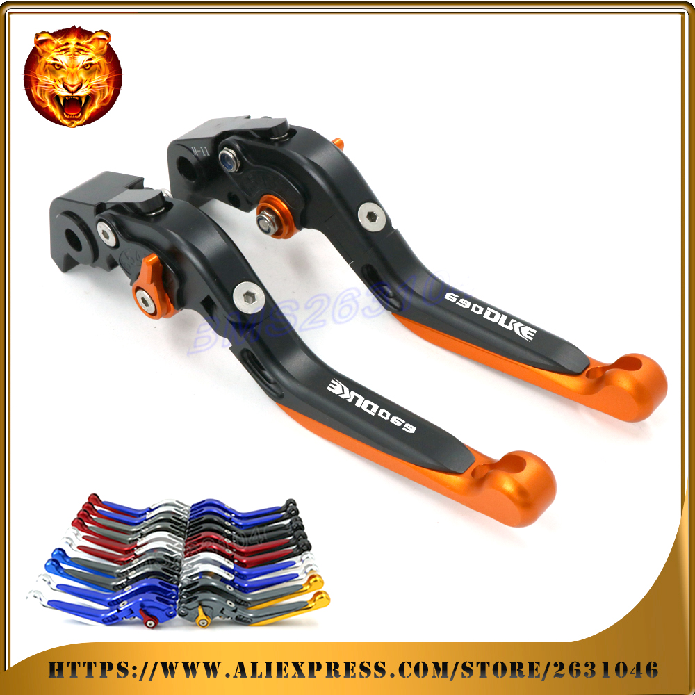 Adjustable Folding Extendable Brake Clutch Lever For KTM 690 DUKE 690DUKE 2008 09 10 11 ORANGE With LOGO Motorcycle 2008 2009 image