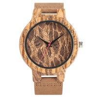 Nature Wooden Watch Handmade Analog Genuine Leather Band Strap Bamboo Bangle Simple Wrist Watch Relogio Masculino
