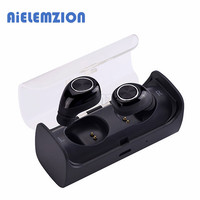 AiELEMZION Bluetooth True Wireless Stereo Earphone with Microphone Portable Mini Hands free Earbuds with Charging Box