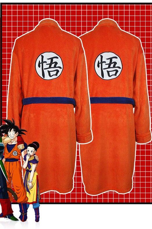 La bola del dragón del Anime térmica de franela Albornoz de los hombres de invierno gruesa Kimono bata de baño Son Goku disfraces Cosplay vestido A60618