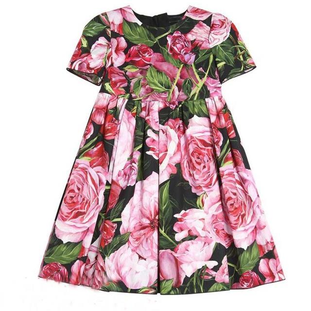 Meninas Vestidos de Verão Flor Rosa Impresso Robe Fille Enfant Traje Da Princesa Vestido Da Menina Crianças Veste 2017 Marca As Crianças Se Vestem