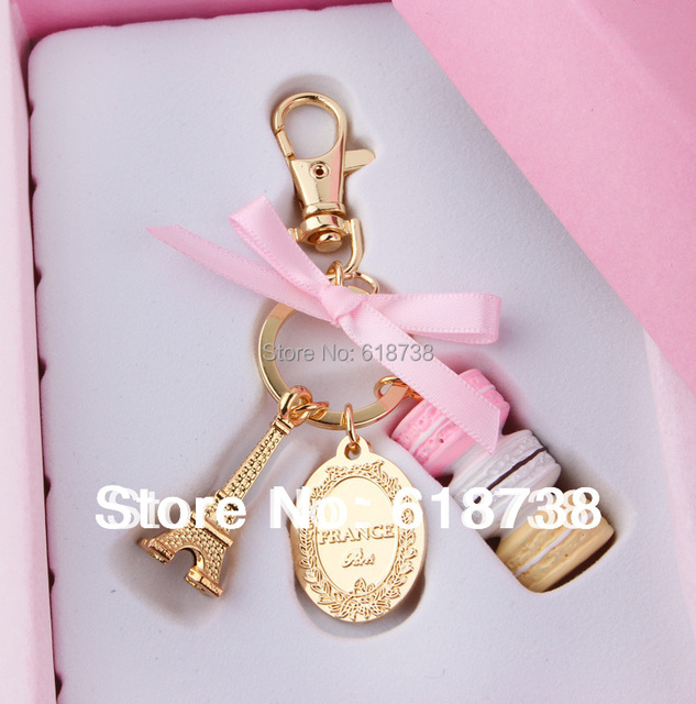 Cake Macarons Fashion France LADUREE Effiel Tower Keychain Best Gift Christmas Saint Valentines Day Wedding Birthday