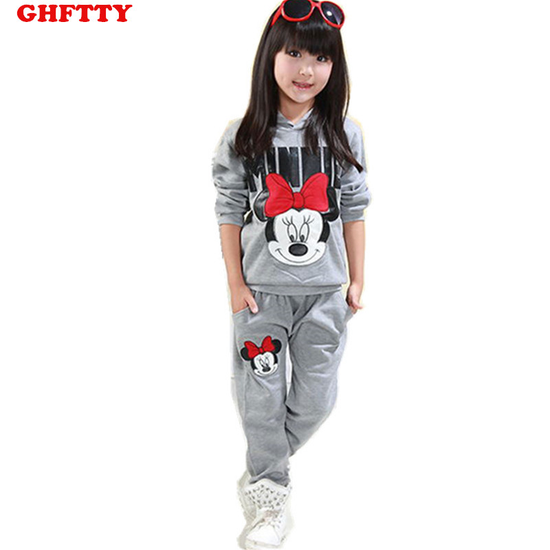 HOT! 2017 baby girls clothing sets cartoon minnie mouse winter children's wear cotton casual tracksuits kids clothes sports suit