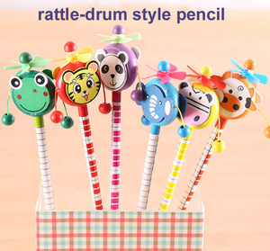 Image 1 - 30 pcs/lot école étudiants prix enfants dessin animé Animal Style HB en bois crayon hochet tambour jouet cadeau danniversaire