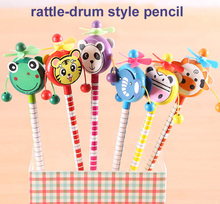 30pcs/lot School Students Prize Children Cartoon Animal Style HB Wooden Pencil Rattle drum Toy Birthday Gift