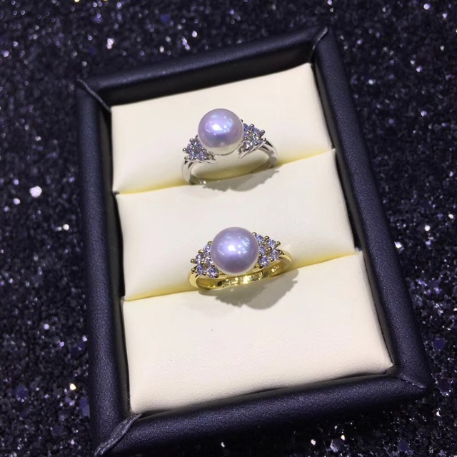 2 Color Fashion Pearl Ring Mounts, Ring Findings, Adjustable Ring Jewelry Parts Fittings Charm Accessories Silver Jewellery