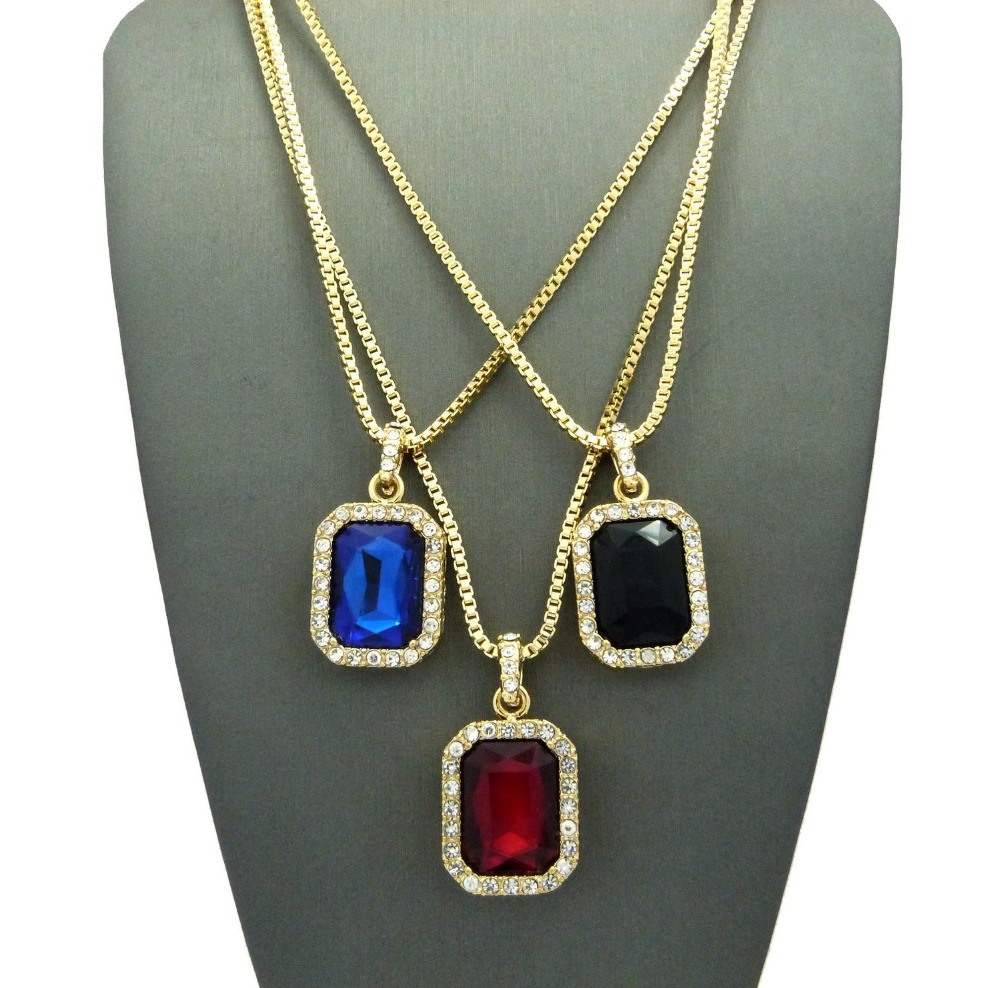 Crystal onyx pendant necklace set square red black bluegreen crystal onyx pendant necklace set square red black bluegreen white stone pendant 30inch box chain mens jewelry in chain necklaces from jewelry aloadofball