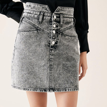 Gray Casual Denim Skirt