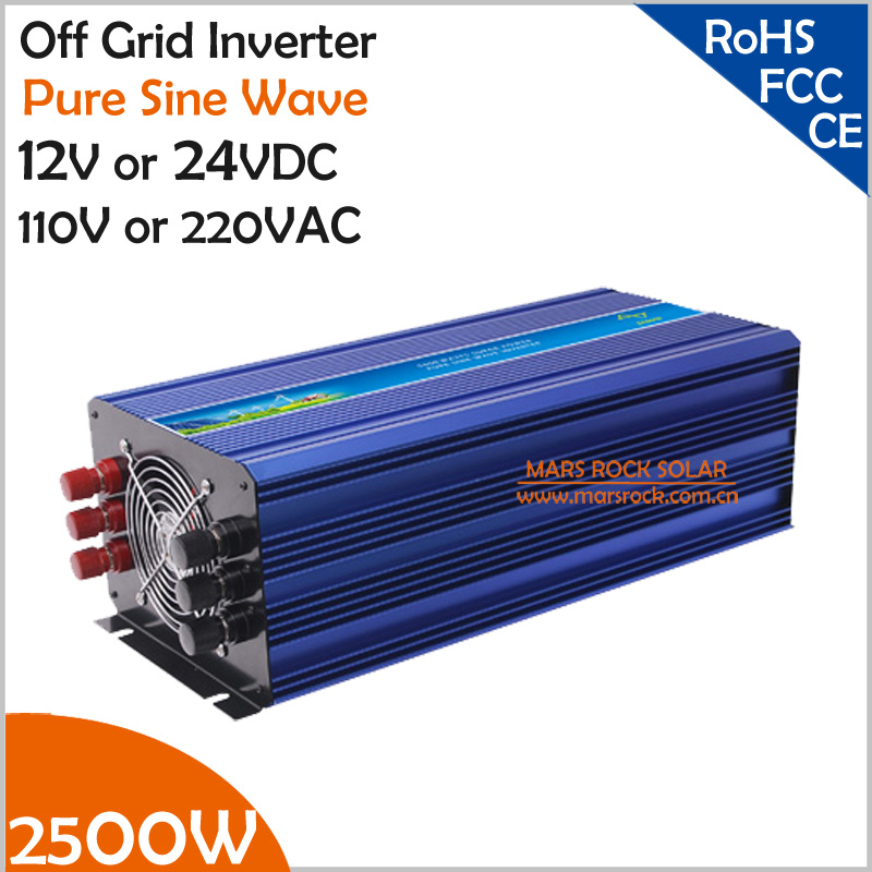 цена на 2500W Off Grid Solar Inverter or Wind Inverter, Surge Power 5000W 12V/24VDC 110VAC or 220VAC Pure Sine Wave Inverter