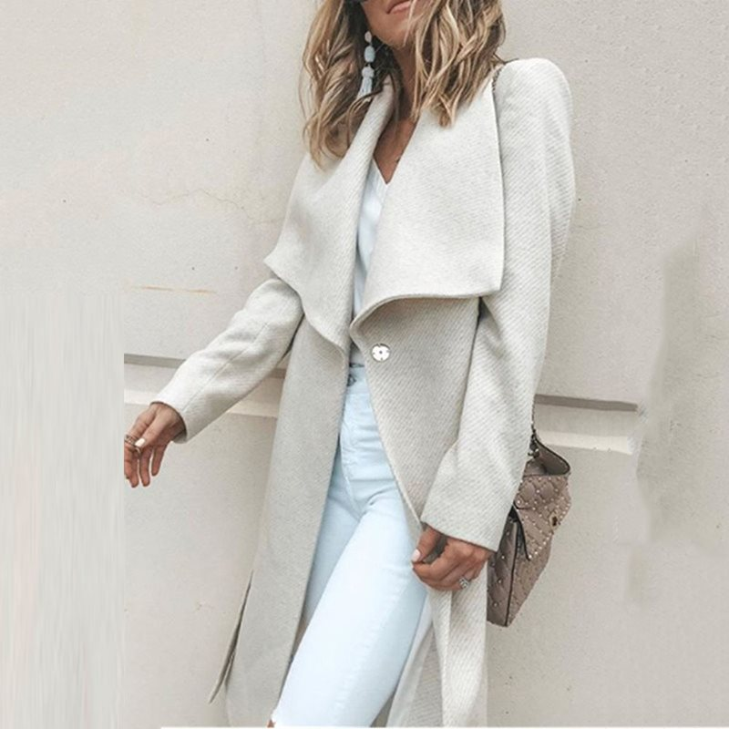 Casual White Elegant Plus Size Wool Coat Women   Trench   Coats Loose Winter Outwear Button Autumn 2019 Office Ladies Long Overcoat
