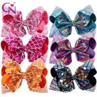 """6 Pieces/lot 8"""" Mermaid Hair Bows With Clips For Kids Girls Handmade Fish Scales Metallic Fabric Bows Hairgrips Hair Accessories"""